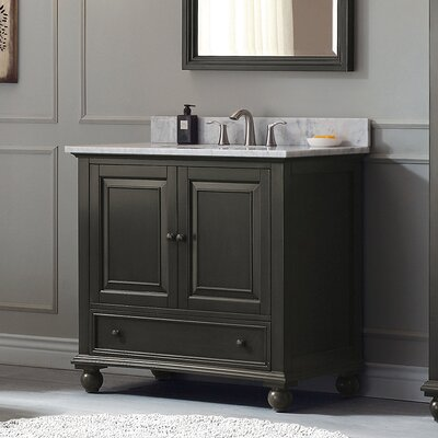 Thompson 37 Single Modern Bathroom Vanity Set Base Finish: Charcoal Glaze, Top Finish: Carrera White