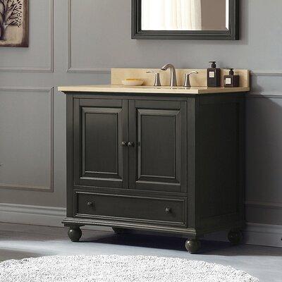 Thompson 37 Single Modern Bathroom Vanity Set Base Finish: Charcoal Glaze, Top Finish: Galala Beige