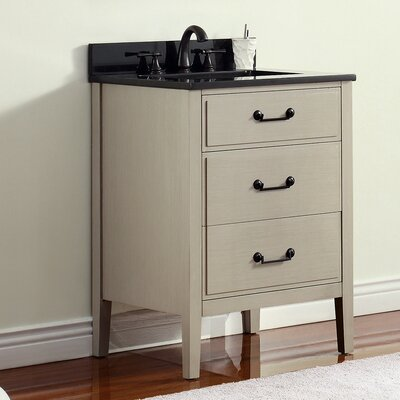 Delano 25 Single Modern Bathroom Vanity Set Base Finish: Taupe Glaze, Top Finish: Black Granite