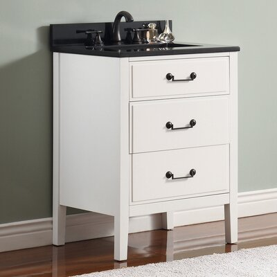 Delano 25 Single Modern Bathroom Vanity Set Base Finish: White, Top Finish: Black Granite
