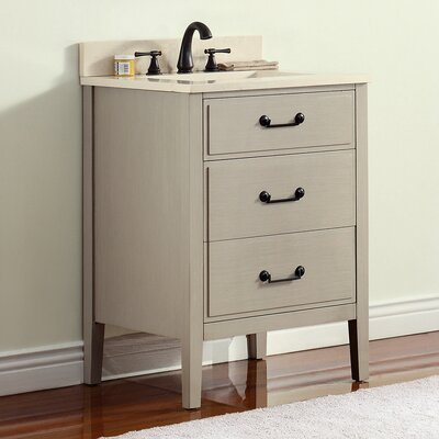 Delano 25 Single Modern Bathroom Vanity Set Base Finish: Taupe Glaze, Top Finish: Galala Beige