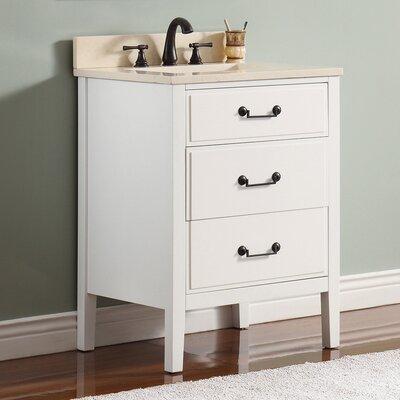 Delano 25 Single Modern Bathroom Vanity Set Base Finish: White, Top Finish: Galala Beige