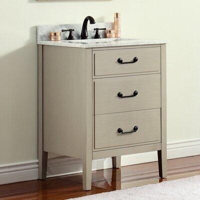 Delano 25 Single Modern Bathroom Vanity Set Base Finish: Taupe Glaze, Top Finish: Carrera White