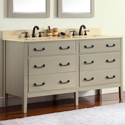 Delano 61 Single Modern Bathroom Vanity Set Base Finish: Taupe Glaze, Top Finish: Galala Beige