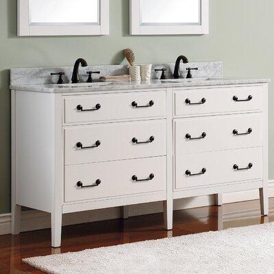 Delano 61 Single Modern Bathroom Vanity Set Base Finish: White, Top Finish: Carrera White