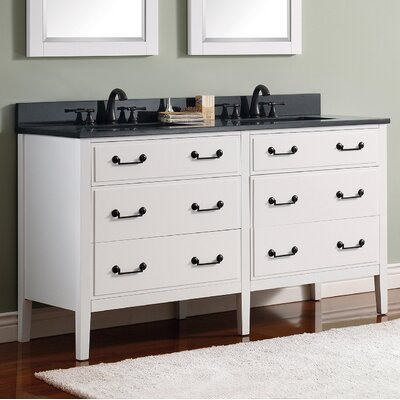 Delano 61 Single Modern Bathroom Vanity Set Top Finish: Black Granite, Base Finish: White