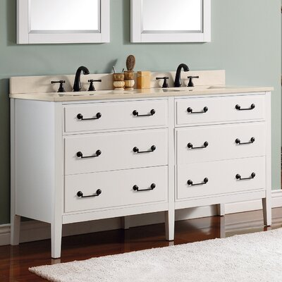 Delano 61 Single Modern Bathroom Vanity Set Base Finish: White, Top Finish: Galala Beige