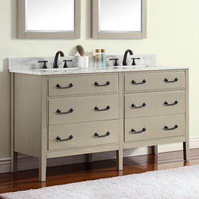 Delano 61 Single Modern Bathroom Vanity Set Base Finish: Taupe Glaze, Top Finish: Carrera White