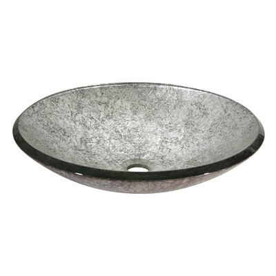 Tempered Glass Circular Vessel Bathroom Sink Sink Finish: Metallic Silver