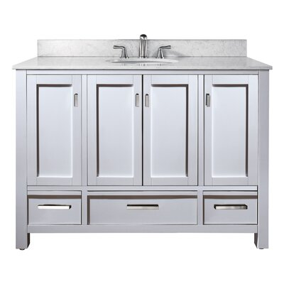 Modero 49 Single Bathroom Vanity Set Top Finish: Natural Carrera White Marble