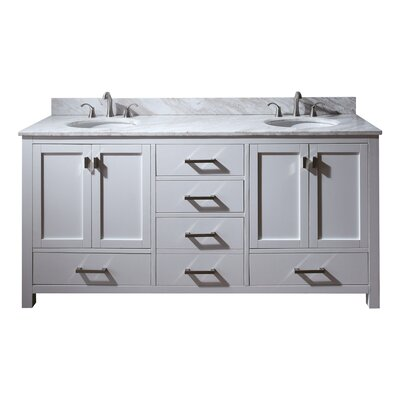 Modero 73 Double Bathroom Vanity Set Top Finish: Natural Carrera White Marble