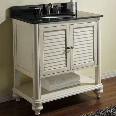 Tropica 31 Single Bathroom Vanity Set Base Finish: Antique White, Top Finish: Black Granite
