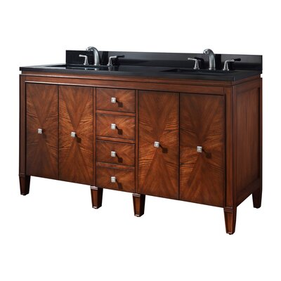 Brentwood 61 Double Bathroom Vanity Set Top Finish: Black Granite