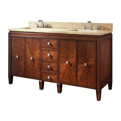 Brentwood 61 Double Bathroom Vanity Set Top Finish: Galala Beige