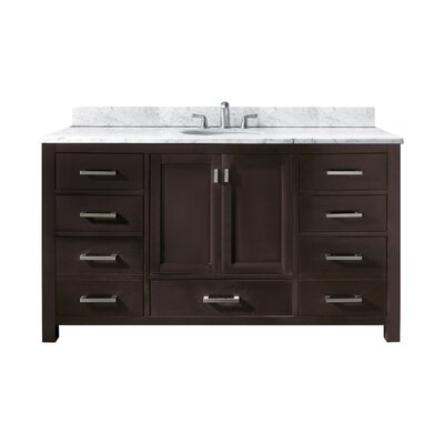 Modero 61 Single Bathroom Vanity Set Base Finish: Espresso, Top Finish: Carrera White