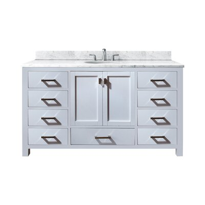 Modero 61 Single Bathroom Vanity Set Base Finish: White, Top Finish: Carrera White
