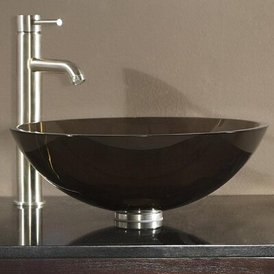 Tempered Glass Circular Vessel Bathroom Sink with Overflow Sink Finish: Brown