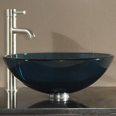 Tempered Glass Vessel Circular�Vessel�Bathroom�Sink with Overflow Sink Finish: Blue