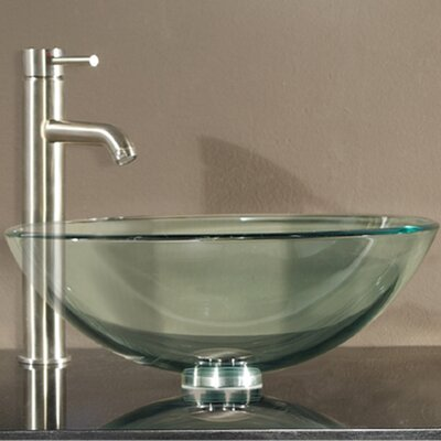 Tempered Glass Circular Vessel Bathroom Sink with Overflow Sink Finish: Clear