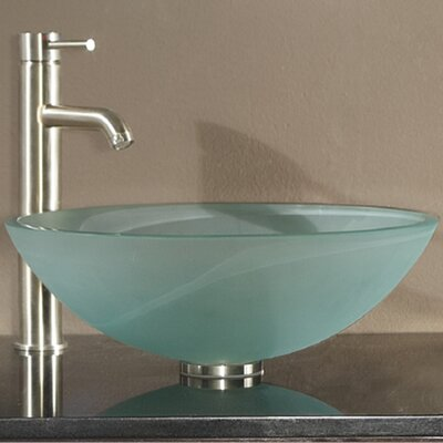 Tempered Glass Circular Vessel Bathroom Sink with Overflow Sink Finish: Frosted