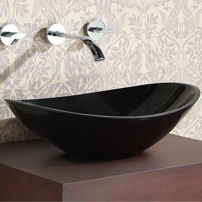 Stone Oval Vessel Bathroom Sink Sink Finish: Black Granite
