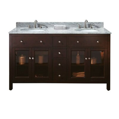 Lexington 61 Double Bathroom Vanity Set Top Finish: Carrera White Marble