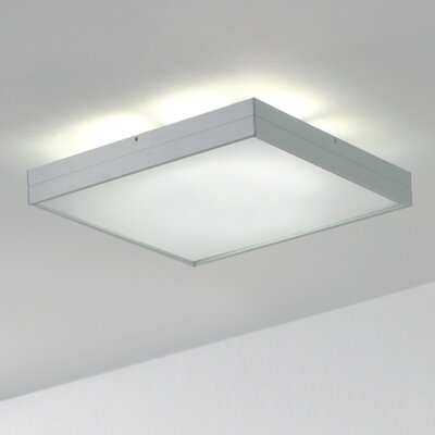 Linea 1-Light Flush Mount Size: Medium, Bulb Type: Compact Fluorescent T5/1 x 22W, Finish: Satin Aluminum
