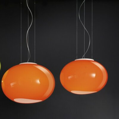 Noa 1-Light Globe Pendant Size/Bulb Type: 14.25 Diameter/1 x 60W Incandescent, Color: Orange Glass