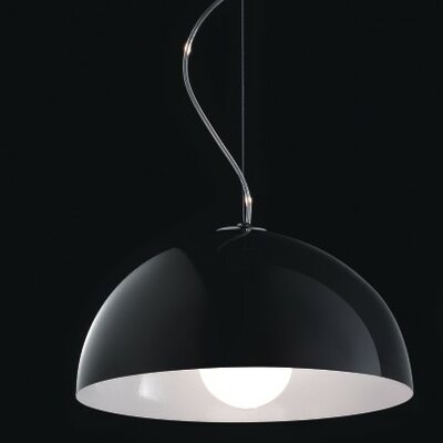 Anke 1-Light Bowl Pendant Size/Bulb Type: 13.5 Diameter/60W Incandescent, Color: Black/Orange Metal