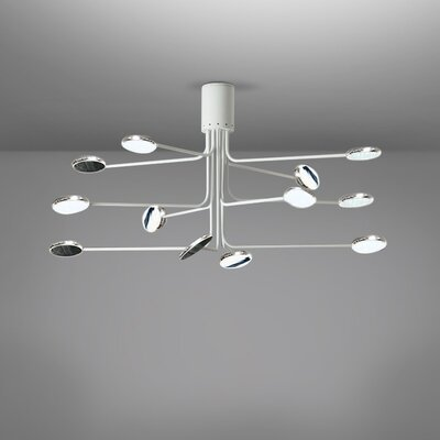 Arbor 12-Light LED Flush Mount Fixture Finish: White/Aluminum