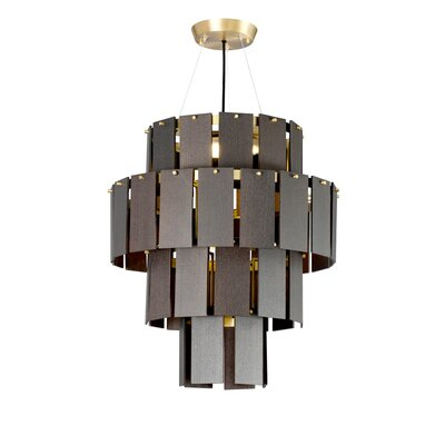 Quarz LED Drum Chandelier Finish: Brass/Dark Oak