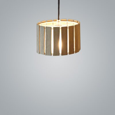 Luz Oculta Wood Suspension 1-Light Drum Pendant Finish: Natural Oak/Bronze