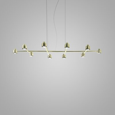 Spider 10-Light Kitchen Island Pendant Finish: Brass
