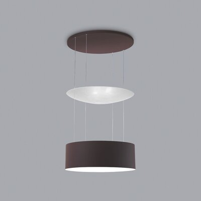Eclisse 6-Light LED Drum Pendant Finish: Chocolate/White