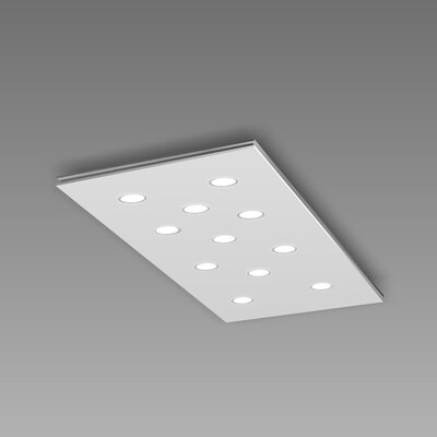 Pop 11-Light Flush Mount Fixture Finish: White/Aluminum