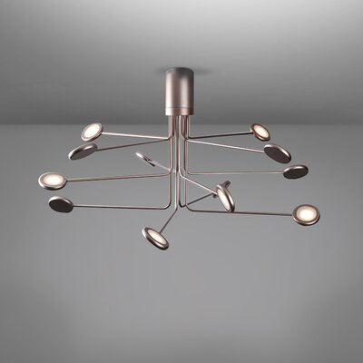 Arbor 12-Light LED Semi Flush Mount Fixture Finish: Copper/Silver