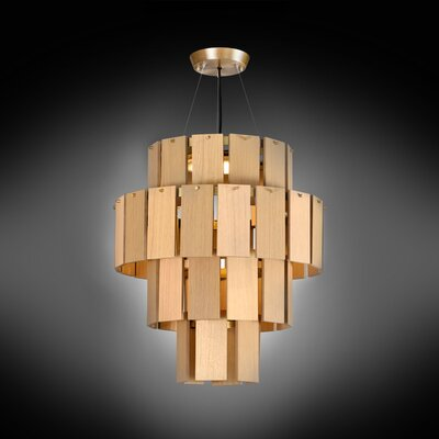 Quarz LED Drum Chandelier Finish: Brass/Natural Oak