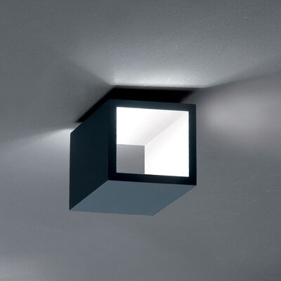 Semi 1-Light LED Flush Mount Fixture Finish: Titanium/White