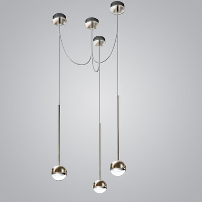 Convivio 3-Light LED Geometric Pendant Finish: Nickel/Trasparent Glass