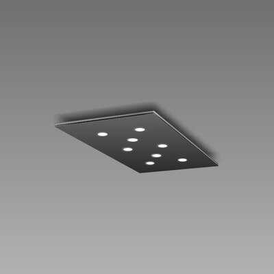 Pop 8-Light Flush Mount Fixture Finish: Black/Aluminum
