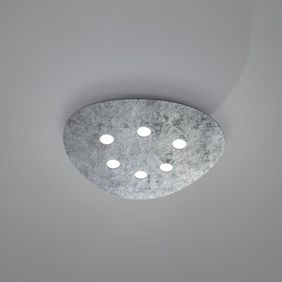 Scudo 6-Light Flush Mount Fixture Finish: Silver Leaf