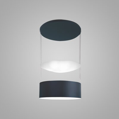 Eclisse 6-Light Drum Pendant Finish: Titanium/White