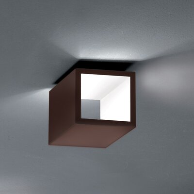 Semi 1-Light LED Flush Mount Fixture Finish: Chocolate/White