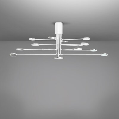 Arbor 16-Light LED Semi Flush Mount Fixture Finish: White/Aluminum