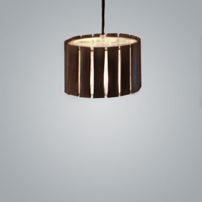 Luz Oculta Wood Suspension 1-Light Drum Pendant Finish: Dark Oak/Brass