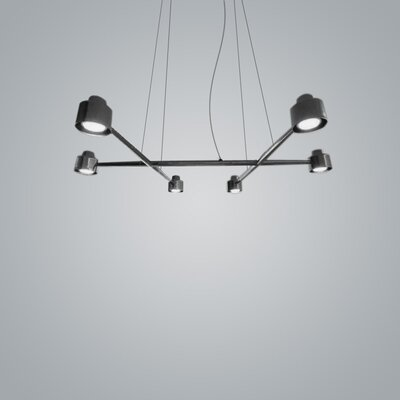 Spider 6-Light Kitchen Island Pendant Finish: Black Chrome