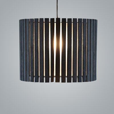 Luz Oculta Wood Suspension 1-Light Drum Pendant Finish: Dark Oak/Bronze