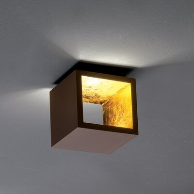 Semi 1-Light LED Flush Mount Fixture Finish: Chocolate/Gold leaf