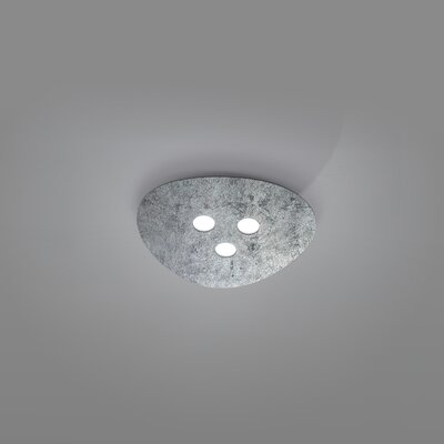 Scudo 3-Light Flush Mount Fixture Finish: Silver Leaf