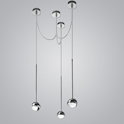 Convivio 3-Light LED Geometric Pendant Finish: Chrome/Transparent Glass